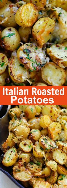 """Italian Roasted Potatoes - buttery, cheesy oven-roasted potatoes with Italian seasoning, garlic, paprika and Parmesan cheese. So delicious 