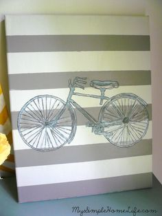 "DIY transfer on canvas ... love the bicycle and her ""you + me"" canvas"