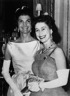 First Lady Jackie Kennedy with Queen Elizabeth II.