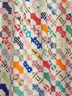Vintage Quilt Handmade 1930s Bowtie Necktie Feedsacks 929 Small Blocks Cutter | eBay, i_spy_design