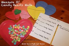 Candy Heart Math for Kindergarten & Preschool - measurement, estimation, counting, sorting & graphing & a lil stacking (for fun!)