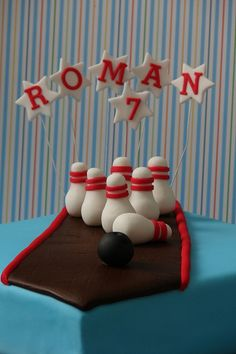 Bowling birthday cake. I like the name and age setup on this, but different cake.