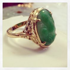 Ming's of Honolulu Green Jade Carved ring