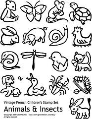 Free vintage stamp printable - animals and insects - great for image-grabs for other projects.