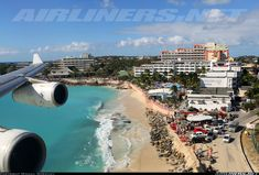 The view of Maho Beach from an arriving Air France A340