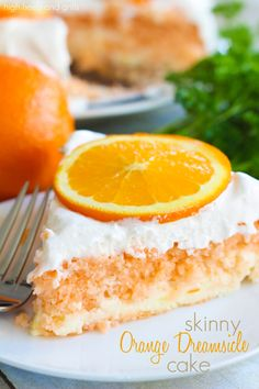 Skinny Orange Dreamsicle Cake Recipe ~ The texture is amazing and it's so ridiculously moist