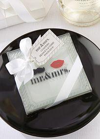 Mr. and Mrs. Glass Coasters Set of 2, Style 27089NA #davidsbridal #redweddings #weddingfavors