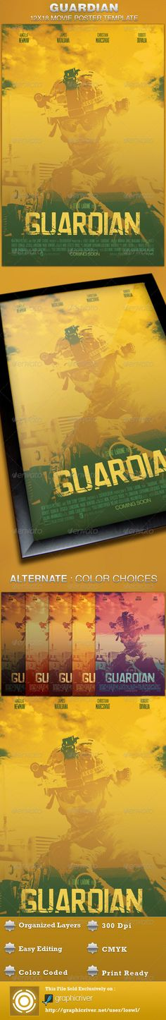 The Guardian Movie Poster Template is sold exclusively on graphicriver, it can be used for your movie promotion, event marketing, church movie night, sermon marketing etc. In this package you'll find 1 Photoshop file. All text and graphics in the file are editable, color coded and simple to edit. The file also has 7 one-click color options.  $6.00