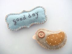 Felt Magnets set - bird and good day
