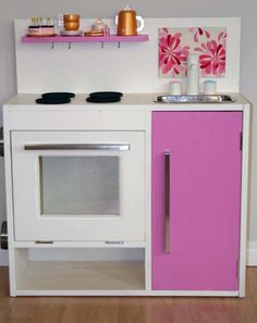 Play Kitchen with Pink Accents