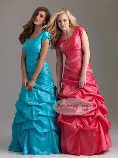 Short Sleeves Taffeta Pick Up Prom Dress with Rhinestone and Lace Up Back
