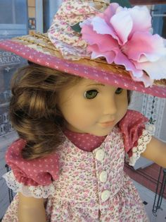 Old-fashioned American Girl pinafore with great embellished hat