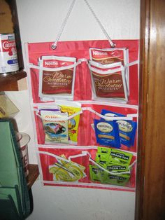 Dollar Store pockets make great organization for teas and food packets in the pantry!