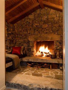 Stone fireplace & bench