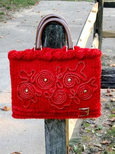 Red Knitted Bag / Purse with Freeform Golden Applique