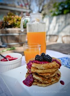 Hearty Pancakes (Vegan, Gluten Free, Soy free, No Sugar Added, Low Fat)
