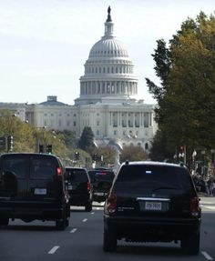 POWER in motion.  The Presidential motorcade in action with the seat of power ahead
