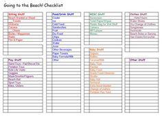 printable beach vacation packing list | Beach Checklist (pdf file)