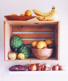 Use a fruit crate as a shelf