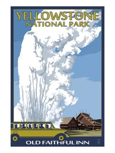 Old Faithful Lodge and Bus - Yellowstone National Park Premium Poster