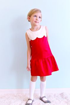 Girls Christmas Dress  Scalloped colorblock by LottieDaBaby,