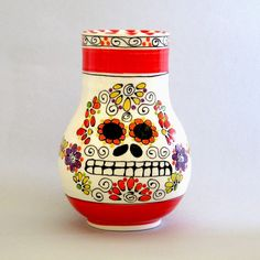 Looks like a day of the dead vase. Love it.