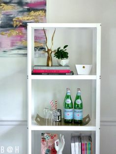 Great bookcase styling and DIY art