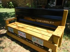tailgate bench | FOOD!!! / My husband and I made this tailgate bench for my sons house ... idea, houses, benches, sons, tailgat bench, photo galleries, furnitur, tailgate bench, bench made from tailgate