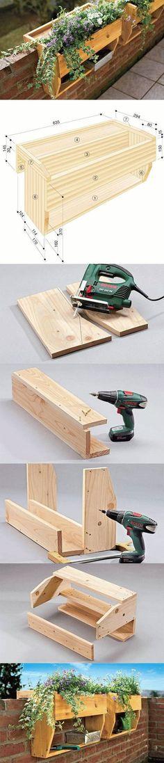 DIY Railings Shelves Pots