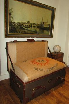 coffee tables, old trunks, vintage suitcases, arm chair, seat