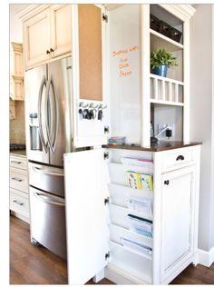 hidden storage, kitchen storage, command centers, traditional kitchens, cabinet