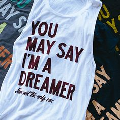 "For #Dreamers, #JohnLennon & #theBeatles fans. Find ""the dreamer"" in 11 different color combos at #sevenly!"