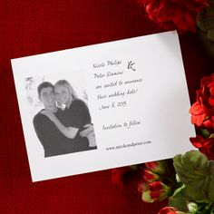 """Photo Save the Date  Save the Date with this white reminder featuring flat print and a photograph of your choice.   6 1/4"""" x 4 1/2""""     150  $162.30"""