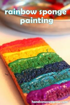 Rainbow sponge painting for some messy paint play - fairly open ended, and all of the colors will draw kids right in! art crafts, rainbow crafts, rainbow art, kid art, rainbows, craft idea, rainbow spong, spong paint, kids art activities