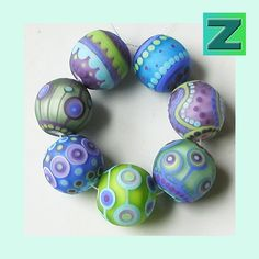 Hydrangea Goofballs - 7 frosty beads - lampwork by Sarah Moran via Etsy