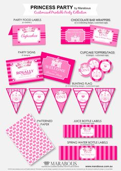 FREE Princess Party Printables.   I found free printables for things like Card buntings Fantastic!