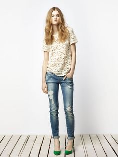 lace, skinnies, green shoes