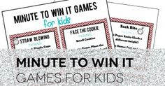 Minute to Win it Games for Kids! Great for New Year's Eve!
