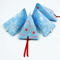 FREE Printable Snowflake and Candy Cane Party Favor Treat Box
