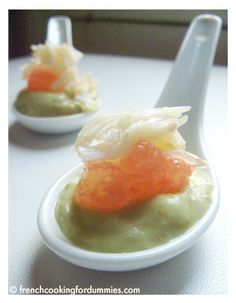 Grapefruit,avocado and crab appetizer spoons