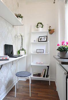 Alternativa pra parede da cozinha working place, mini office, studio apartments, office nook, small places, apartment kitchen, apartment living, small spaces, bureau