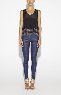 Fringe top with beads - looks great with denim.