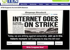 NTEN's blog goes on strike for SOPA. Also clear call to action to write to congress.