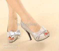 Wholesale Dress Shoes - Buy New Sexy Silver Gold Bridal Pumps Peep-Toe Glittering Stiletto Heel Wedding Dress Shoes, $33.84 | DHgate