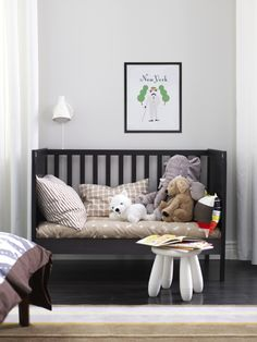 A convertible crib, like SUNDVIK, becomes a toddler bed by simply removing one side.  Your little one gets their big kid bed without leaving the comfort and security of their crib, and you get two pieces of furniture for the price of one.