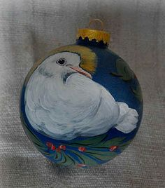 Hand Painted Christmas Ball Ornaments - Dove Glass Balls
