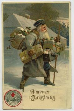 Christmas Santa Claus Loaded Down with Packages Gilt c1911 Postcard | eBay