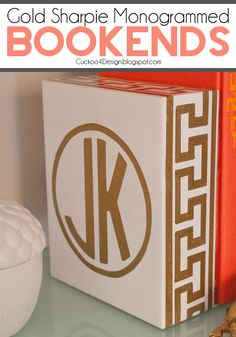 Gold Sharpie Monogrammed Bookends