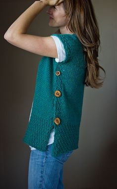 Crochet vest pattern. No seaming on the sides, just those wonderful buttons!. Knitting Sweaters, Knitting Patterns, Knit Sweaters, Flat, Melissa Schaschwari, Seamless Knit, Buttons, Crochet Vests, Kisses