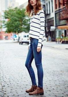 Stripes, skinnies and boots.
